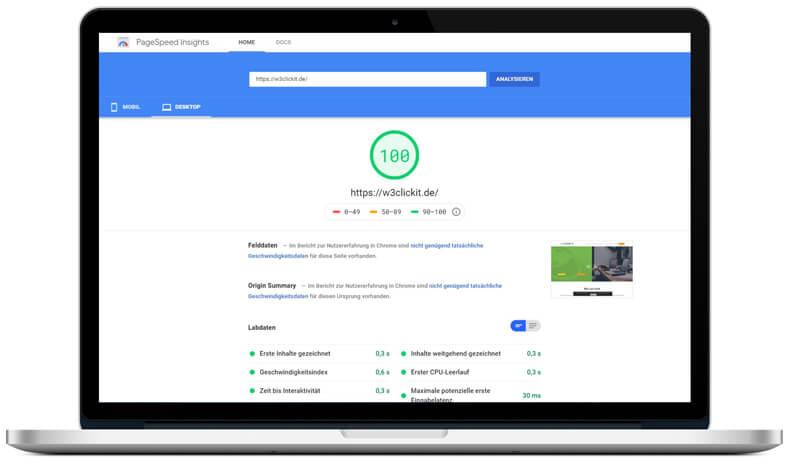 Erstellte Website PageSpeed-Optimierung auf PageSpeed Insights